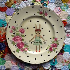 """Lovely"" plate by The Story Book Rabbit"