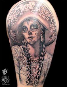 Detailed sugar skull tattoo
