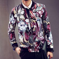 Oil painting mens flowers bomber jacket stand collar pockets