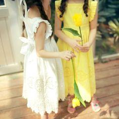 Portia Lace Dress - White, Yellow