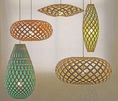 Luminárias com chapas de bambu - Designer neozelandês David Trubridge