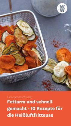 Ob Gemüse, Schnitzel oder Hähnchen - je nach Hersteller kann man in der Heißluftfritteuse frittieren, grillen, braten und backen. Und das nicht nur herzhaft. Auch süße Speisen lassen sich schnell und einfach zubereiten. Wir haben für dich 10 Rezepte für die Heißluftfritteuse zusammengestellt. WW Deutschland   WW Rezept   Weight Watchers Rezept Snacks, Meat, Deep Frying, Roast, Finger Food Recipes, Fish Dishes, Veggie Food, Appetizers, Treats