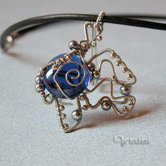 Futuristic wire wrapped pendant