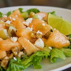 Cantaloupe Walnut Salad with Lime Dressing . used pecans and the other cantaloupe salad dressing--very yummy! Feta Salad, Salad Bar, Soup And Salad, Fruit Salad, Honeydew And Cantaloupe, Cantaloupe Recipes, Salad Recipes, Healthy Recipes, Radish Recipes
