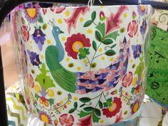 Enchanted Floral Peacock handmade drum lampshade by BrightenUpUK