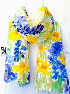 Hand Painted Silk Scarf Yellow and Blue by SilkScarvesTakuyo, $49.00