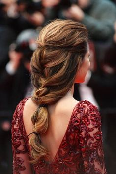 'Cheryl Cole wore her hair swept off her face, , then loosely plaited into a low ponytail and held together with a couple of ribbons Plaits Hairstyles, Pretty Hairstyles, Romantic Hairstyles, Hairstyles Haircuts, Good Hair Day, Great Hair, Awesome Hair, Cheryl Cole Hair, Kayley Melissa