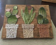 Cactus garden string art suculent string srt home decor rustic wall art rustic succul Rustic Wall Art, Rustic Walls, Diy Wall Art, Rustic Room, Wood Walls, Rustic Kitchen, Blue Art Decor, Art Rustique, Decoration Cactus