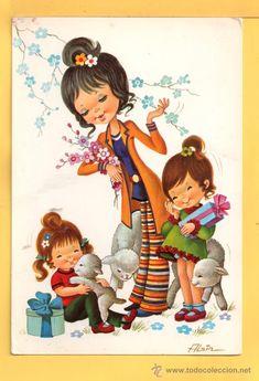 postal de dibujos escrita  el año 1971 editada c y z dibujo filain Vintage Cards, Vintage Postcards, Vintage Pictures, Cute Pictures, Pretty Kids, Decoupage, Fall Wallpaper, Personalized Books, Vintage Comics
