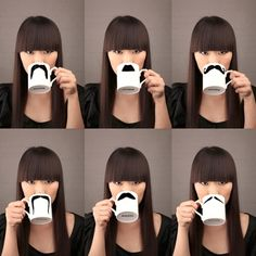 Gift idea for my sister: coat a mug with metallic paint and cut out different mustache shapes in thin magnetic sheets. Instant* customizable mustache mug!
