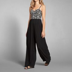 Womens Drapey Jacquard Jumpsuit   Lightweight and drapey with beautiful jacquard top and wide leg silhouette   Womens New Arrivals   Abercrombie.com