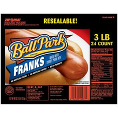 Ball Park Franks 3 Lb Pack): Made with turkey, pork, and beef, Ball Park Franks hot dogs contain no artificial colors, flavors and no by-products. This pack contains 24 franks. Beef Hot Dogs, Oatmeal Cream, Backyard Cookout, Good And Cheap, Afternoon Snacks, Snack Recipes, Favorite Recipes, Sam's Club, Count