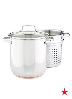 Pasta night is on! This Martha Stewart stainless steel stockpot comes with a pasta strainer insert to ensure that perfecting your top secret spaghetti is easier than ever