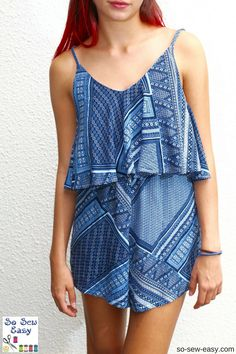 Super Easy Romper, free pattern and tutorial. Sizes 6-26