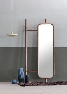 hanger and mirror on Behance Shelf Furniture, Wood Furniture, Furniture Design, Dressing Table Design, Mirror Hangers, Mirror Inspiration, Standing Mirror, Rack Design, Interiores Design