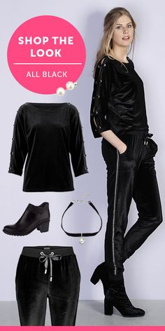 Musta on aina tyylivarma valinta. Outfits Damen, Komplette Outfits, All Black, Polyvore, Shopping, Fashion, Head To Toe, Fashion Trends, Chic