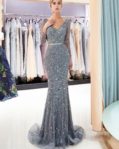Wedding Dresses Ball Gown, Amazing Tulle V-neck Neckline Natural Waistline Mermaid Formal Dress With Beadings DressilyMe Sequin Evening Gowns, Evening Dresses With Sleeves, Mermaid Evening Dresses, Mermaid Gown, Mermaid Skirt, Long Sleeve Evening Gowns, Gowns With Sleeves, Cheap Prom Dresses, Prom Party Dresses