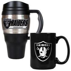 Oakland Raiders Travel Mug and Coffee Cup Set
