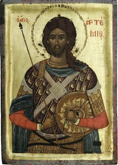 Artemius (d. in Antioch, known as Challita in the Maronite tradition, was a general of the Roman Empire, dux Aegypti (imperial prefect of Roman Egypt). He is considered a saint by the Orthodox Church, with the name of Artemius of Antioch. Byzantine Icons, Byzantine Art, Religious Icons, Religious Art, Orthodox Catholic, Russian Icons, Religious Paintings, Best Icons, Art Icon