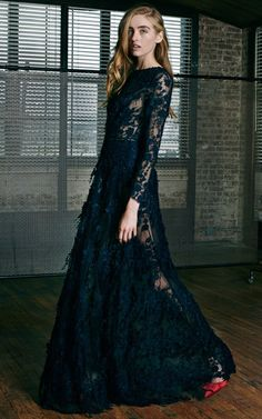 Fringed Floral Guipure Evening Dress by Katie Ermilio for Preorder on Moda Operandi