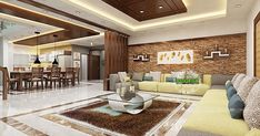 Beautiful living and dining room interiors (Kerala home design) Kerala House Design, Living Design, House Design, Hall Interior, Living Room Design Modern, Drawing Room Design, Living Room Ceiling, Dining Room Interiors, Living Room Loft