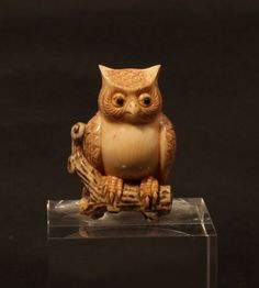 Japanese antique netsuke of an owl  SOLD