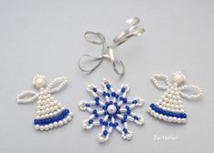 Christmas ornaments in white and blue, variable set of 3 by EvAtelier1 on Etsy https://www.etsy.com/listing/247434095/christmas-ornaments-angel-snowflake?ref=shop_home_active_1