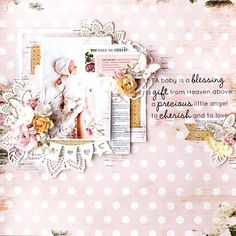 Hello kaisercrafters, today Julia here to share with you some new projects with new stunning Kaisercraft collections and show you tuesday tutorial! Baby Scrapbook, Scrapbook Paper Crafts, Scrapbook Pages, Memory Photo Books, Gift From Heaven, Shabby Chic Cards, Baby Album, Clear Stickers, Small Cards