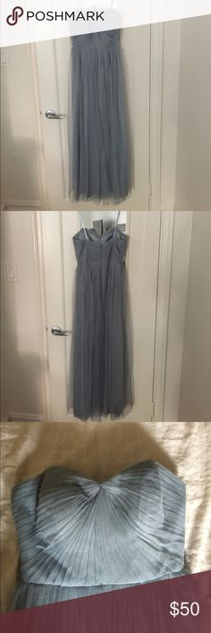 """Adrianna Papell Gown - Gray Adrianna Papell Soft Tyler Gown in Blueish Gray. Size 6, tailored to 5'2"""" frame.  Small hole at bottom of dress. Inner lining slightly ripped.  ***With belt is an additional $30.00*** Adrianna Papell Dresses Maxi"""