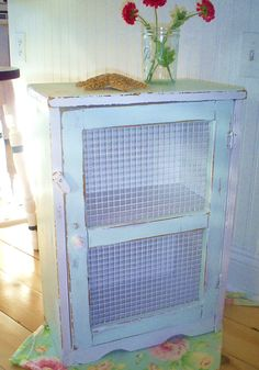 Furniture  shabby chic cabinet table cupboard chicken wire. via Etsy.