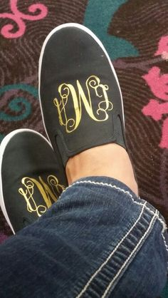 Gold heat transfer vinyl on shoes (used flat iron to apply).