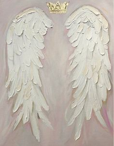 Angel Wings Painting , shabby Chic, gold crown, nursery decor, hand painted angel wings custom painted in 2019 Angel Wings Art, Angel Wings Drawing, Angel Wings Painting, Angel Art, Angel Wings Wall Decor, Angel Decor, Color Rosa Bebe, Diy Angels, How To Draw Angels