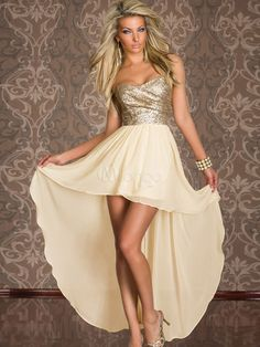 New years  Fashion White Strapless Two-Tone High Low Design Polyester Women's Maxi Dress - Milanoo.com