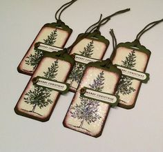 Christmas Gift Tags -  Hang Tags Set of 5 - Handmade Holiday Tags - Beautiful Xmas Tags with Christmas Tree by Inked2perfection on Etsy https://www.etsy.com/listing/247055071/christmas-gift-tags-hang-tags-set-of-5