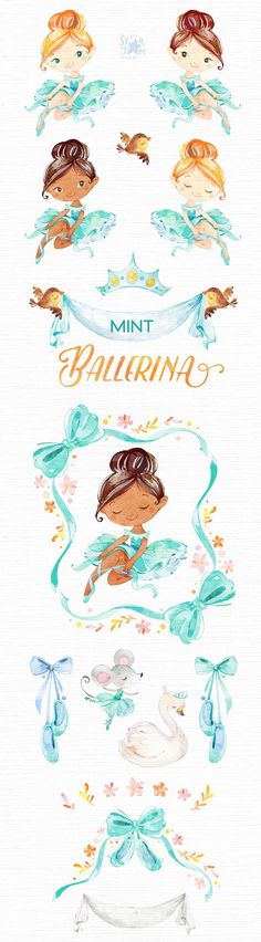 This Mint Ballerina watercolor set is just what you needed for the perfect invitations, craft projects, paper products, party decorations, printable, greetings cards, posters, stationery, scrapbooking, stickers, t-shirts, baby clothes, web designs and much more. :::::: DETAILS ::::::