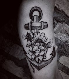 Anchor and flower sleeve tattoo - 50 Awesome Anchor tattoo Designs