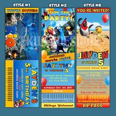 Personalized RIO ticket style Birthday Invitations