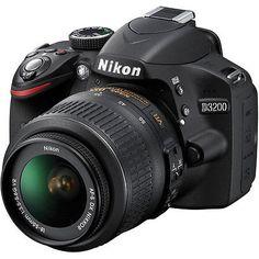 Nikon D3200 (Black) Digital SLR Camera w/ DX NIKKOR 18-55mm 3.5-5.6G VR Lens