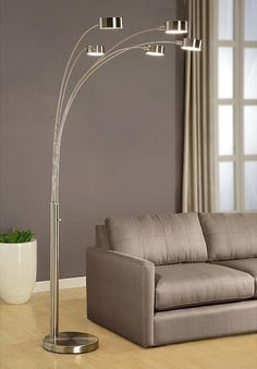 Micah Arched Floor Lamp manufactured by Artiva with 5 arm and brushed nickel finish make this lamp very suitable for home office lighting