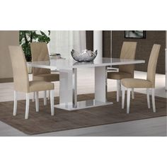 White Modern Dining Room Sets Unique Glossy White Dining Room Set 7 Pcs Made In Italy Glass Dining Room Sets, White Dining Room Table, Modern Dining Room Tables, Dining Room Design, Dining Room Chairs, Dining Set, Modern Chairs, Dining Rooms, Table Lamps
