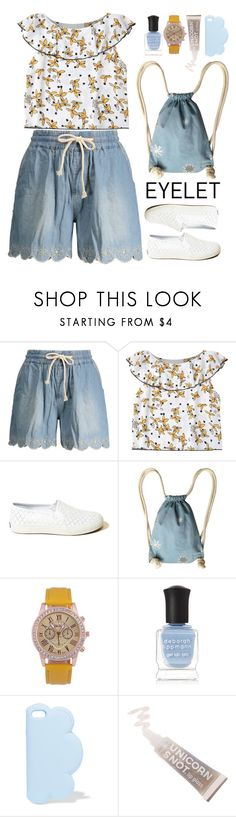 """""""Peek-A-Boo: Eyelet"""" by beebeely-look ❤ liked on Polyvore featuring Hollister Co., Supersweet, Deborah Lippmann, STELLA McCARTNEY, FCTRY, casual, denimshorts, eyelet and zaful"""