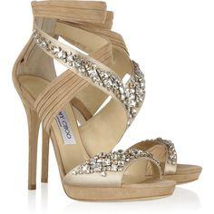 Jimmy Choo Kani Swarovski crystal-embellished satin and suede sandals ❤ liked on Polyvore