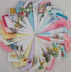 """I over heard a lady college professor in Mississippi say """" no self respecting southern lady would be caught without her hankie ! Craft Projects, Projects To Try, Craft Ideas, Decorating Ideas, Sewing Projects, Handkerchief Crafts, Vintage Embroidery, Embroidery Fabric, Vintage Handkerchiefs"""
