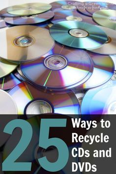 We've rounded up 25 incredible DIY crafts and activities that will make you rethink the average disk. Click through each link below and be inspired!Got a stash of old CDs or DVDs that you can't bear to toss? Here are 25 fun ways to craft with them! Recycled Cd Crafts, Old Cd Crafts, Crafts To Make, Recycled Tires, Diy Crafts With Cds, Diy With Cds, Cd Recycle, Ways To Recycle, Cd Diy