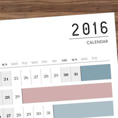 Plan as far in advance as you'd like with this giant full year horizontal wall calendar...  // A2 HORIZONTAL WALL CALENDAR 2016 PRINTABLE