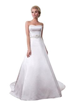JoyVany Women's Satin Wedding Dresses for Bride 2016 Beaded Long Wedding Gowns White Size 6. Need About 1-2 weeks days for processing the order, and 3-4 days for delivery on the way, please ignore the delivery date. If your size is Plus over our size 18, please contact us for custom measurment for you, no extra charge.Pls kindly CHOOSE SIZE from our size chart on the left. We offer product high quality and wholesale price. Fully lined with built-in bra. Fully lined with built-in bra. Perfect…