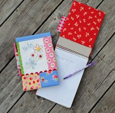 Nice & Easy Notes Pattern using the awesome Pam Kitty Morning fabric. By Sherri Falls of This and That .