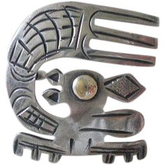 Uncommon Vintage PERUVIAN Mid-century Handwrought .925 Silver 18K Gold Pre-Columbian Tribal CHINCHILLA BROOCH