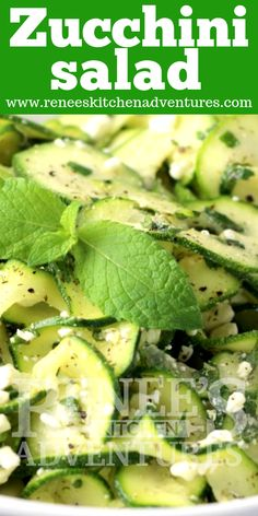 Zucchini Salad by Renee's Kitchen Adventures is the perfect way to enjoy zucchini! Easy to make, healthy and delicious ribboned zucchini in a light and tasty dressing. Perfect side dish for all of your summer parties! Make it now, you won't regret it! Taco Salad Recipes, Spinach Salad Recipes, Soup Recipes, Vegetarian Recipes, Easy Recipes, Healthy Recipes, Zucchini Ribbon Salad, Zucchini Salad, Pasta Salad