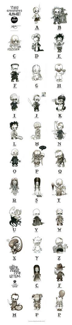 Tiny Creatures Alphabet - Un tipo ilustrado Horror Cartoon, Funny Horror, Horror Icons, Horror Art, Horror Movies, Inktober, Sheet Ghost, Ghost Tattoo, Girl Drawing Sketches